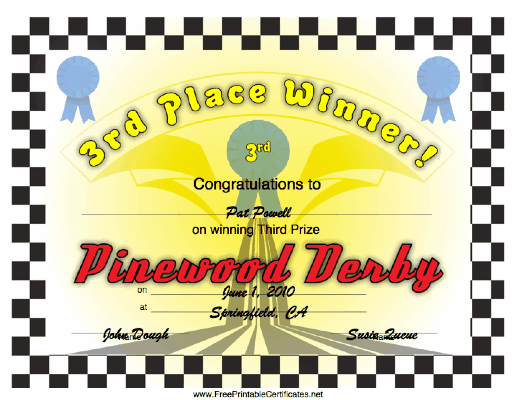 picture regarding Free Printable Pinewood Derby Certificates named Pin upon Pinewood Derby