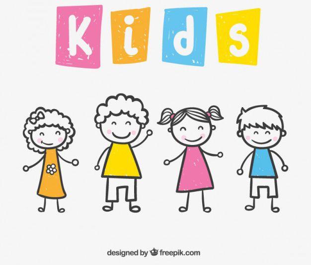 Descarga Gratis este vector con dibujos simples de niños y niñas ...