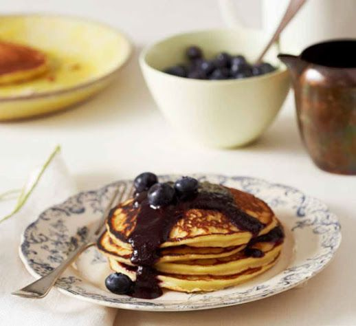 Ricotta Cheese #pancakes with blueberry sauce #recipe