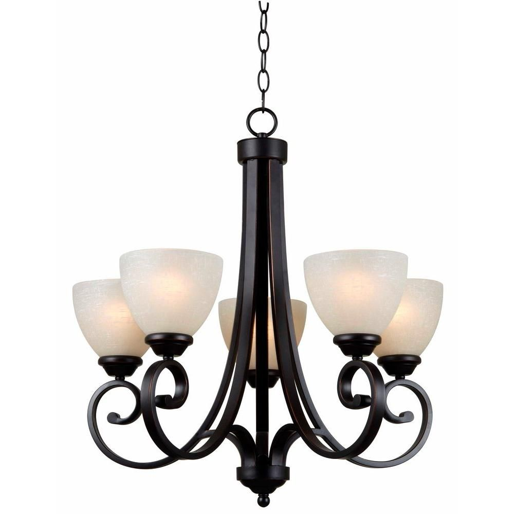 Hampton Bay Renae 5 Light Oil Rubbed Bronze Chandelier Hdp12053 At The Home Depot 150 Kitchen