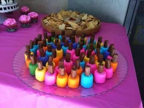 Nail polish bites –marshmallows dipped in frosting and topped with a tootsie roll… So cute for a little girls party!!