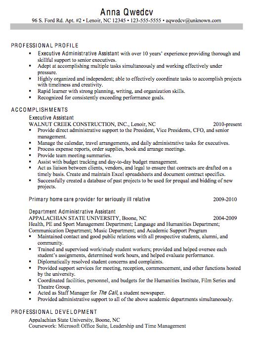 Chronological Resume Sample Executive Administrative Assistant Administrative Assistant Resume Resume Objective Examples Resume Objective