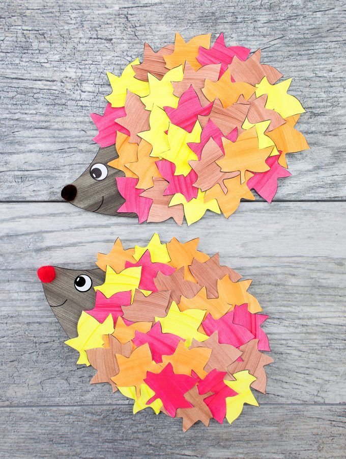How to Make the Cutest Fall Hedgehog Craft - Fall arts and crafts, Fall paper crafts, Hedgehog craft, Fall crafts for kids, Fall crafts, Fall crafts diy - This cute paper leaf hedgehog craft is perfect for fall! Kids of all ages will enjoy using the printable hedgehog template at home or school