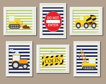 Trucks CONSTRUCTION Personalized Name Nursery Art Boy Bedroom Wall Decor Bulldozer Crane Navy Wall Art Set of 6 Prints Playroom Decor Art