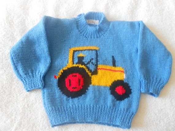 43aed9ca108 Tractor jumper hand knitted 100 acrylic DK. by KnittingbyNanny ...