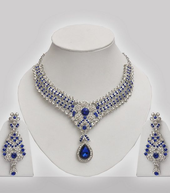 Silver necklace set with blue stones jewls pinterest joyeras silver necklace set with blue stones aloadofball Image collections