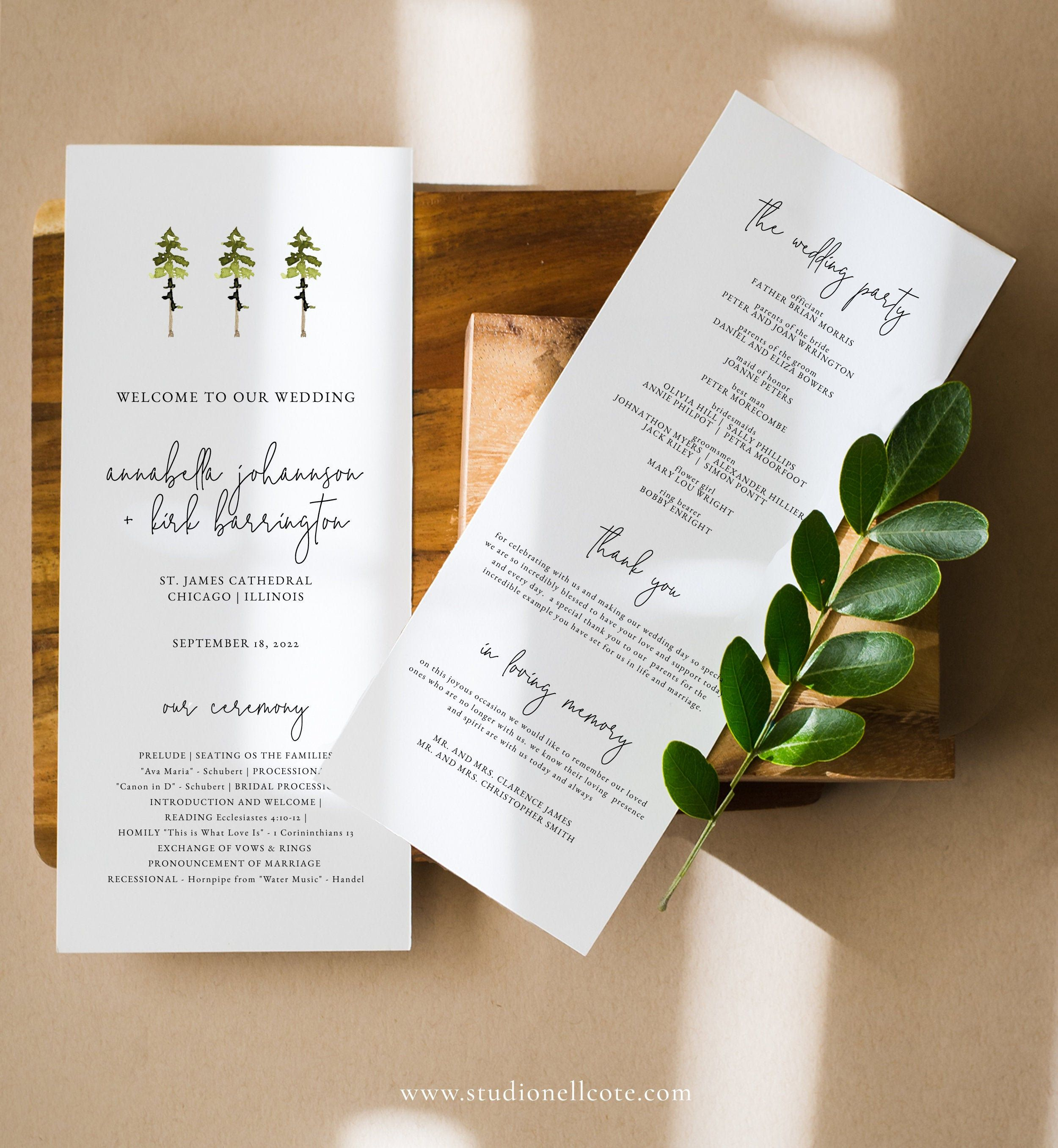 Greenery Wedding Program Fan Printable Template Wedding Fan Program Modern Wedding Program Order of Service EDIT in TEMPLETT Olivia