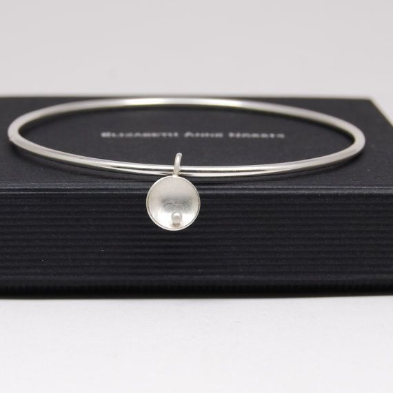 Circles and Pearls Silver Bangle Jewellery by eanjewellery on Etsy