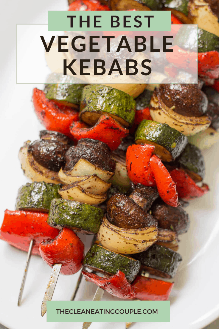 These Healthy Vegetable Kebabs are the best way to cook your veggies! Paleo/Whole30, easy to make + delicious. I like to make these on the grill, but you can also make them in the oven! The marinade is absolutely delicious and these are a must make for a BBQ. Even kids will love them! We like to cook them on skewers but you can use a mat or basket too! #grilled #grilling #vegetables