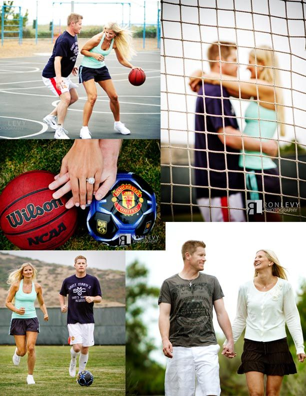 Love This Basketball And Soccer Themed Engagement Photos Themed Engagement Photos Football Wedding Theme Engagement Couple