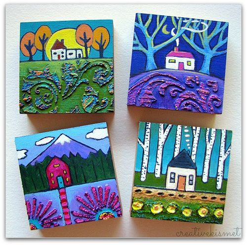 4 more little house paintings is part of Small canvas paintings, Canvas art, Art, Mini canvas art, Small paintings, Square one art - More little house paintings  These have the wonderful texture  Here is a close up  I just love painting these teeny little landscapes  🙂 Be Sociable, Share! Tweet