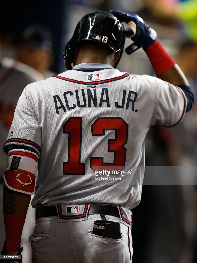 Ronald Acuna Atl May 11 2018 At Mia Atlanta Braves Atlanta Braves Baseball Braves Baseball