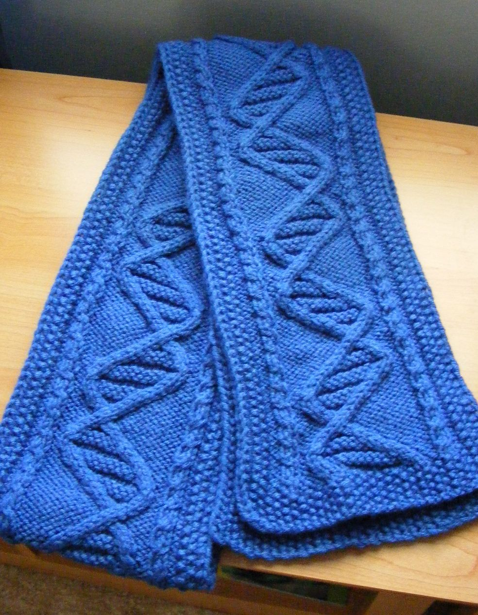 Free Knitting Pattern for DNA Scarf - This scarf features a cable ...