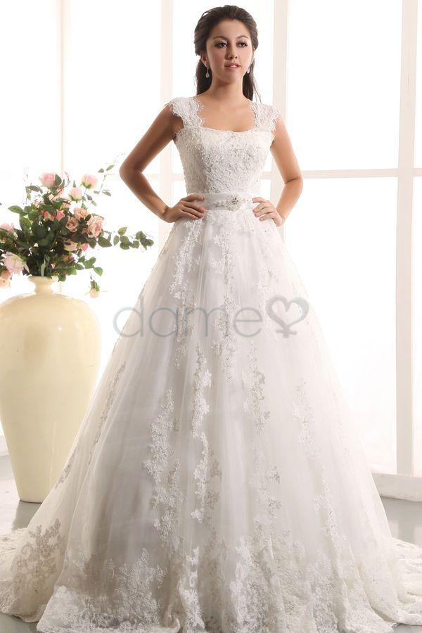 Prinzessin Kathedrale Schleppe Tüll breiter Träger Lace bodenlanges Brautkleid mit Korsett