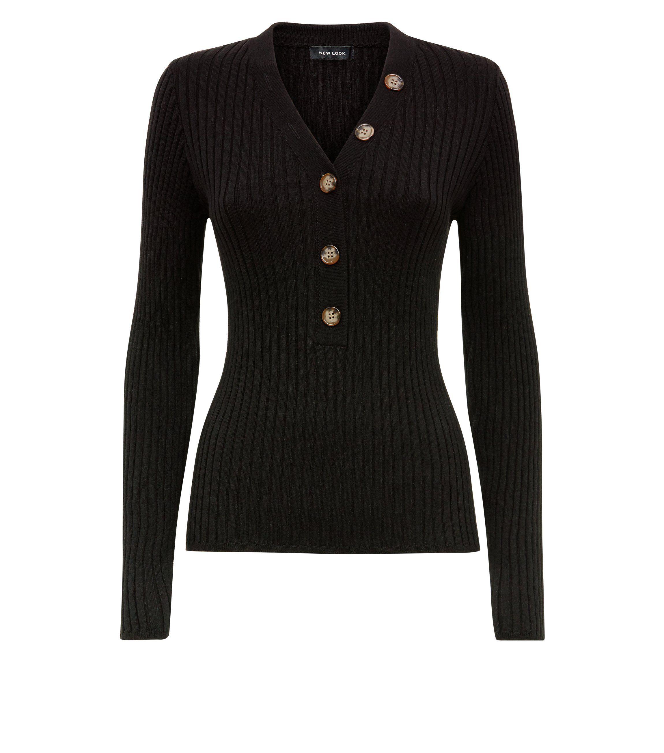 Black ribbed button trim jumper womenus fashion that i love