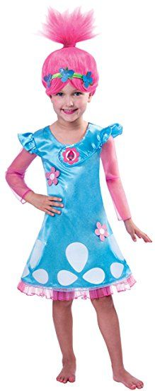 Erdbeerloft Madchen Kostum Karneval Kleid Und Perucke Poppy Troll