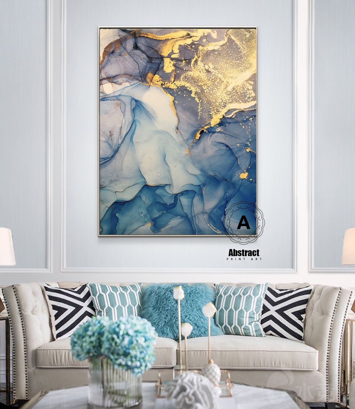 Oversized Blue Gold Marble Wall Art Abstract Painting Blue Etsy Blue Abstract Art Abstract Art Painting Abstract Art Prints