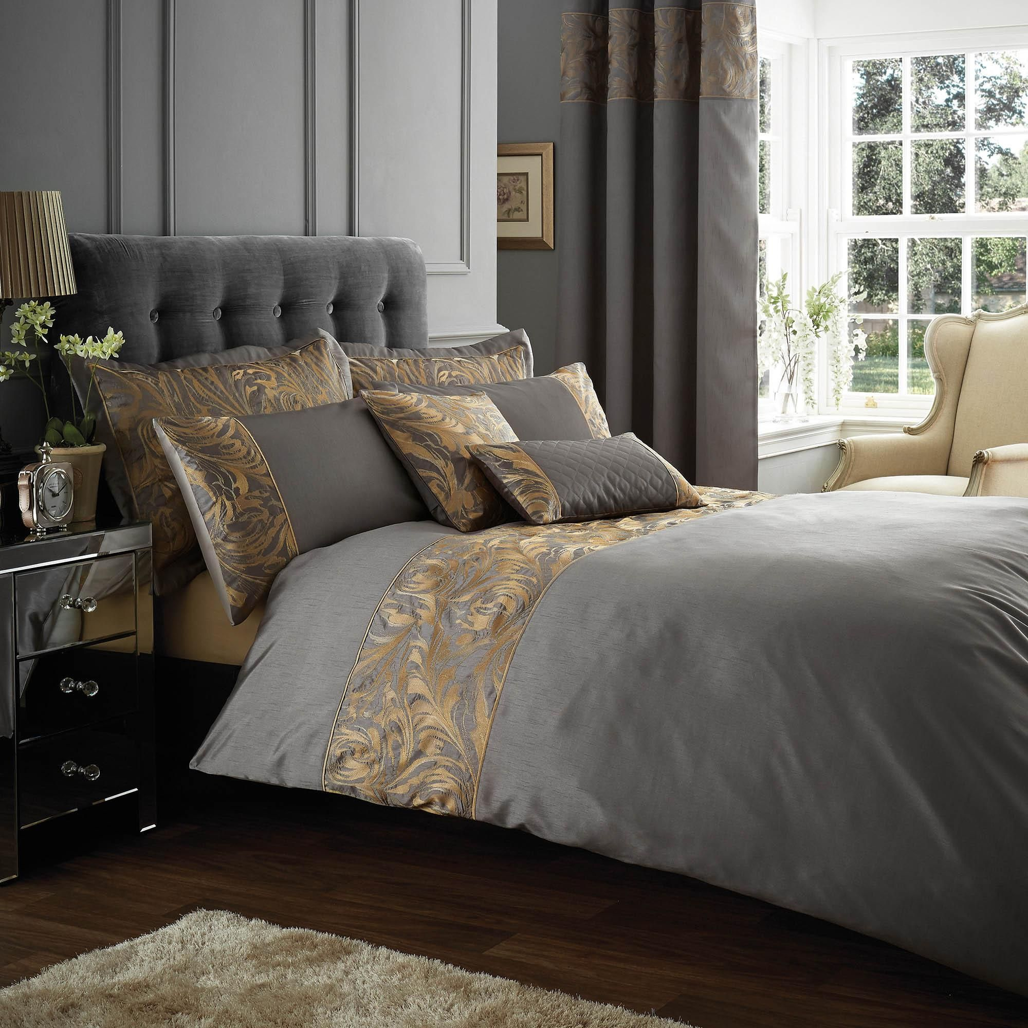 Dunelm Quilted Cotton Grey And Gold Embroidered Grayson Duvet