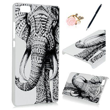 Zstviva Schutzhulle Zubehor Set Hart Tasche Pc Hard Case Cover Schale Fur Huawei P8 Lite Tribal Muster Elefanten Design Tran Elefant Design Stylus Eingabestift