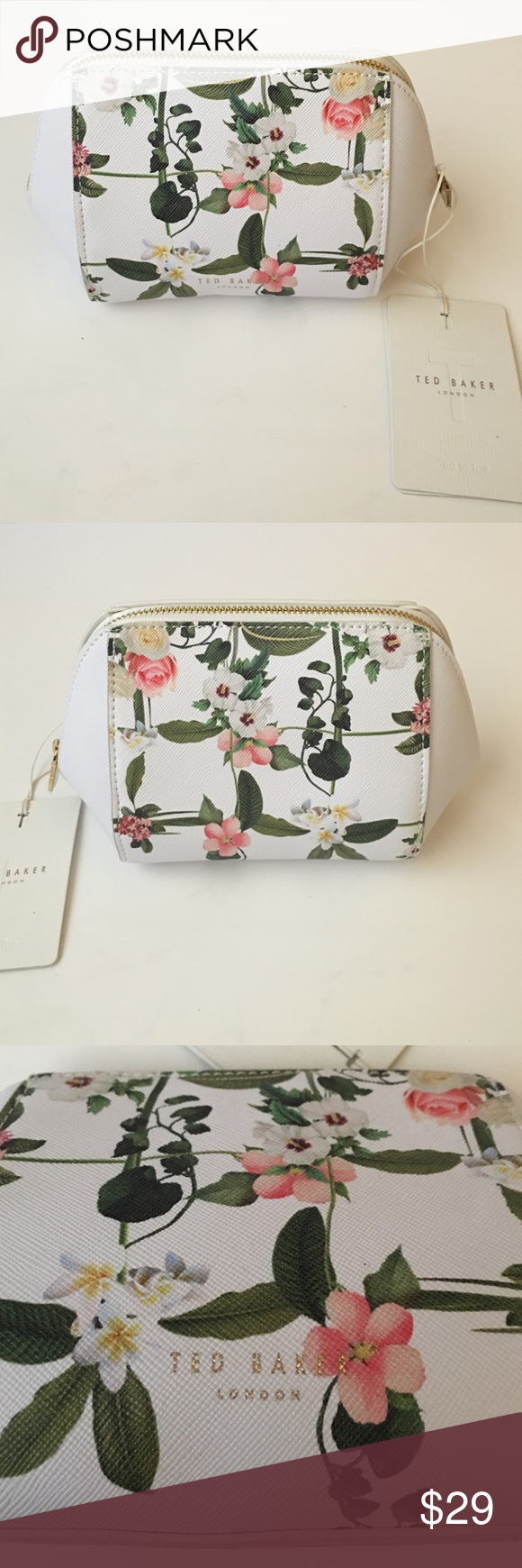 be2215d36 Ted Baker Floral Makeup Bag🎀 Ted Baker white/floral makeup bag with gold  zipper. Brand new with tags and lined in white silky material.