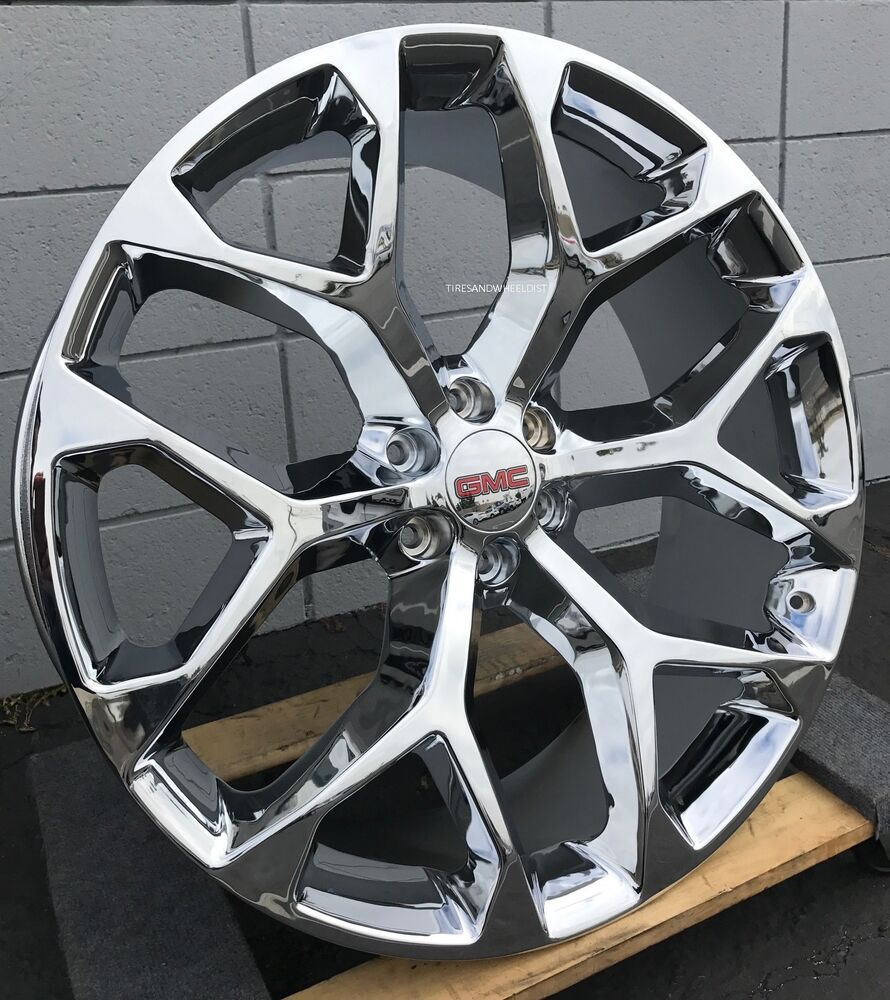 Advertisement Ebay 24 Inch Gmc Sierra Snowflake Wheels Chrome Tahoe Suburban Chevy Silverado New Chevy Silverado Chevy Tahoe Silverado