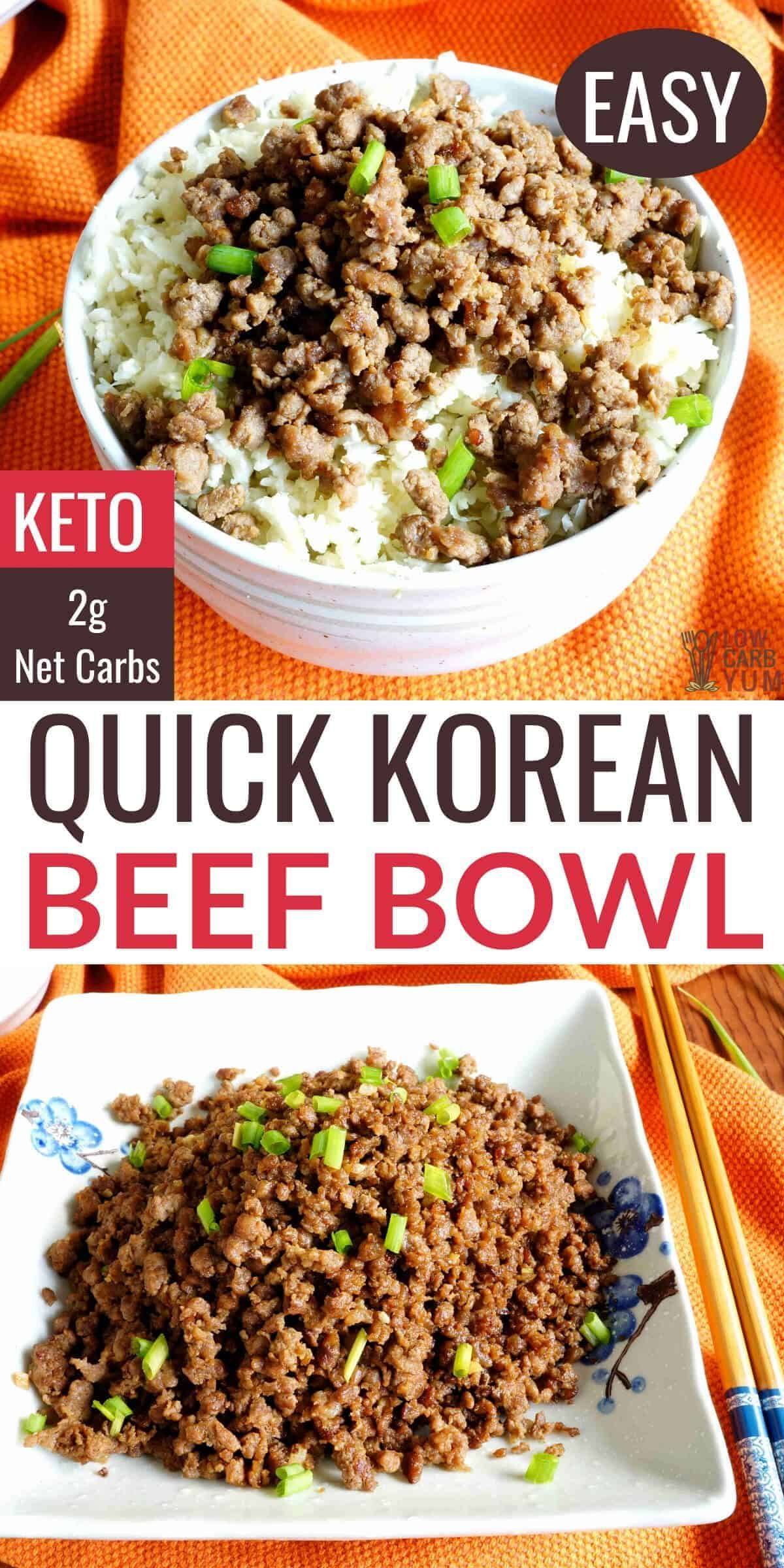 A Quick And Easy Keto Korean Ground Beef Recipe With Sweet And Spicy Seasonings It S A Dish That Ca In 2020 Ground Beef Bowl Recipe Keto Beef Recipes Beef Bowl Recipe