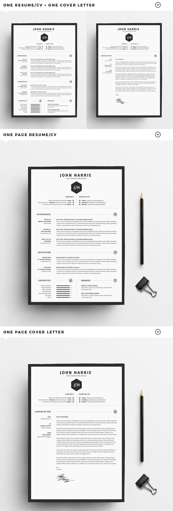 Free Creative Resume Templates With Cover Letter Freebies  Home