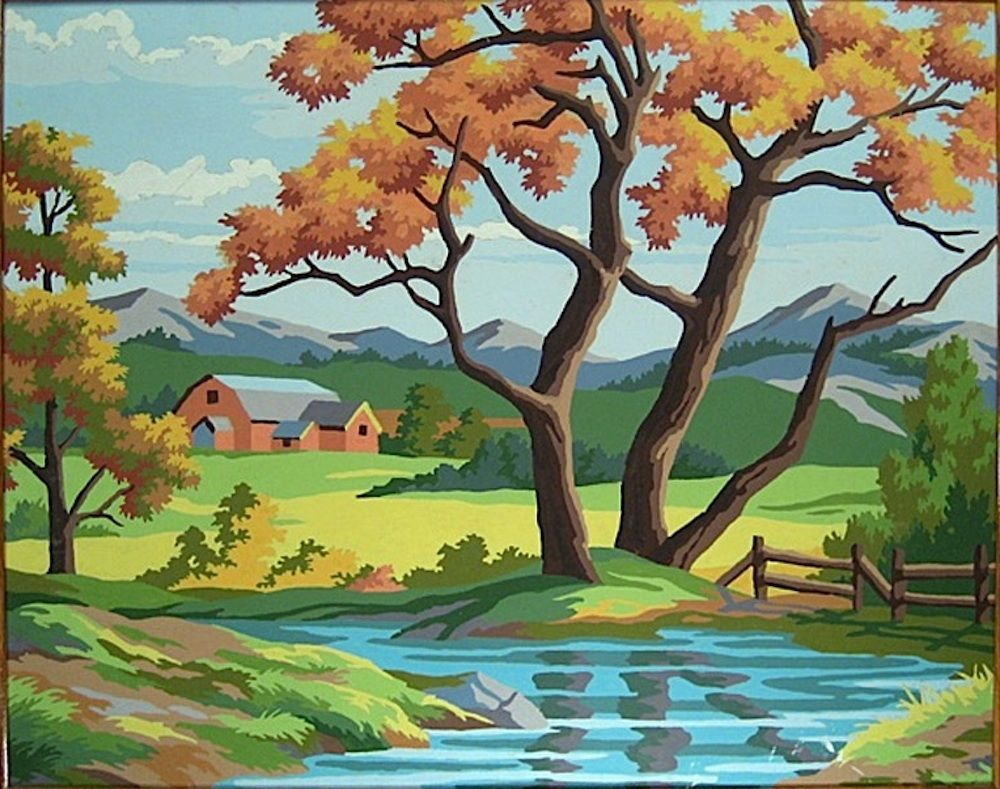 25xx2 Paint By Number Museum Vintage Painting Landscape