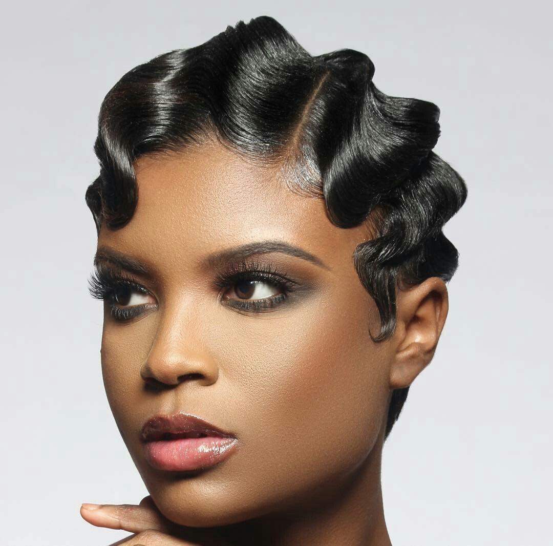 Black hair design Finger wave hair, Finger waves short