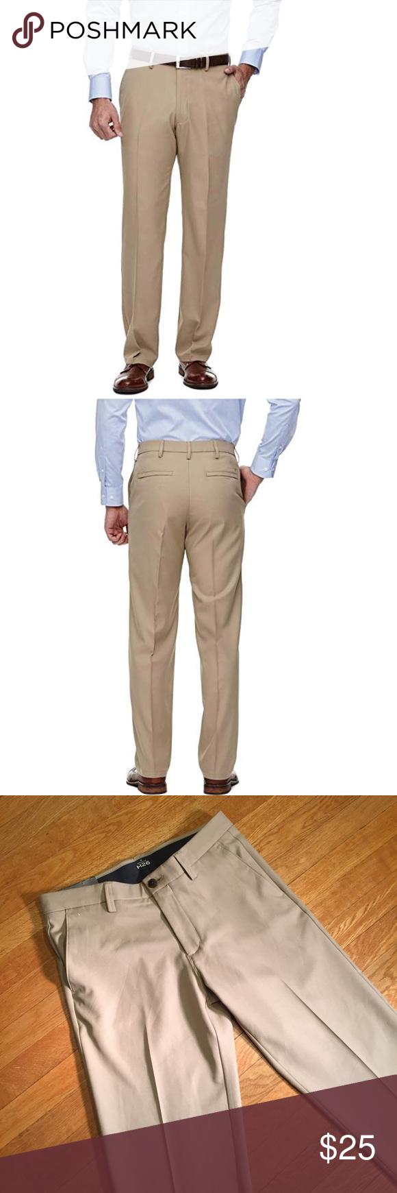 Haggar H26 Men/'s Straight Fit Performance Dress Pant 32 x 32 Khaki