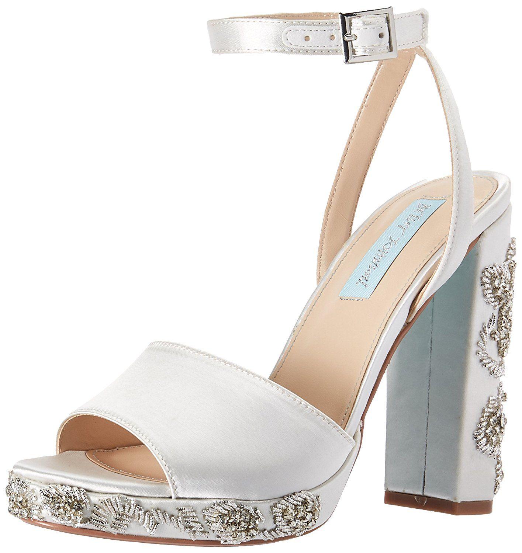 Betsey Johnson Blue Sb-ellen Heeled Sandal in Pearl White