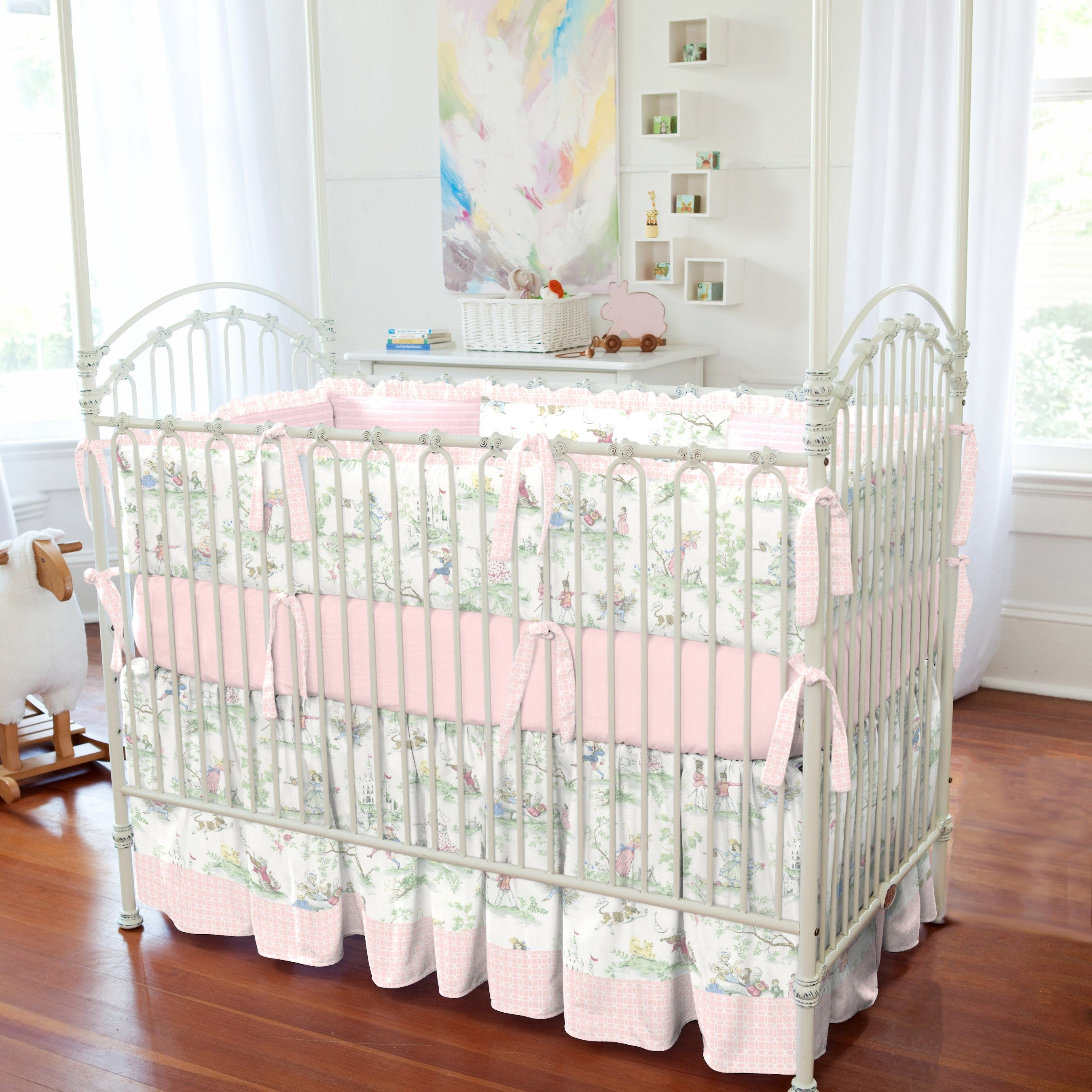 Crib Bumper In Pink Over The Moon Toile By Carousel Designs.