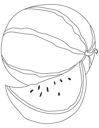 Delicious Watermelon With A Slice Coloring Page Download Free