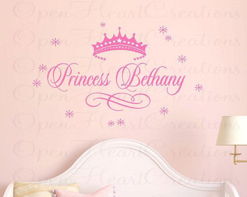 Princess name wall decal baby girl nursery by openheartcreations
