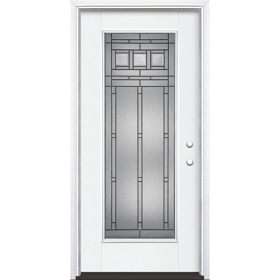 Masonite Craftsman Decorative Glass Left Hand Inswing Arctic White Painted Fiberglass Prehung Entry Door With Insulating Core Entry Doors Masonite Glass Decor