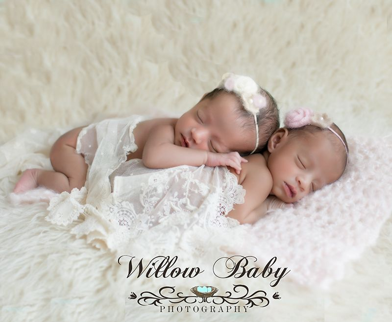 Newborn photography at willow baby photography twin newborn baby girls in lace wrap