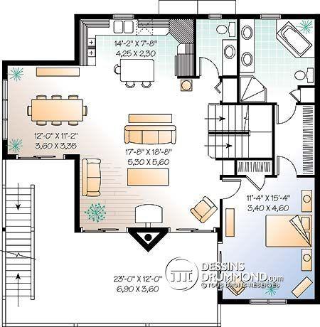 Plan de Maison unifamiliale W4943A Idée Maison Pinterest