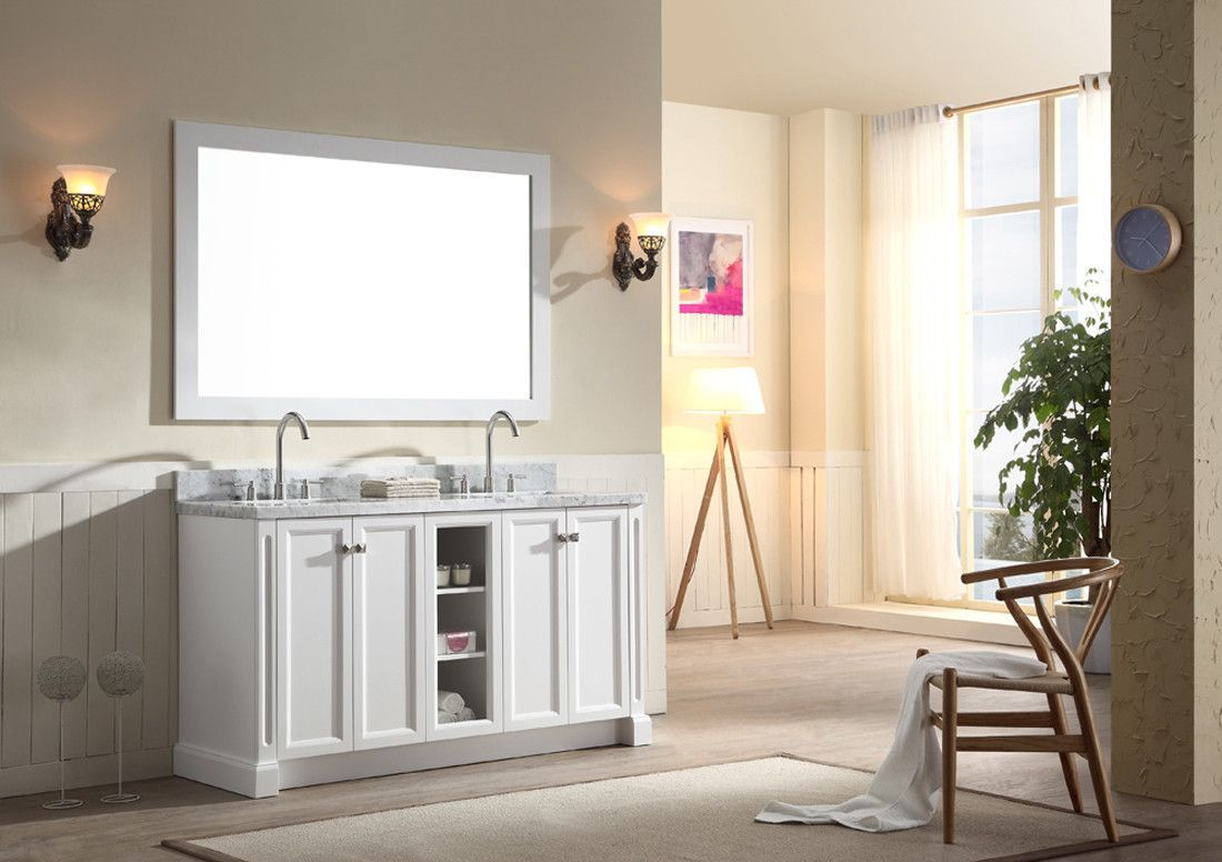 """ARIEL Westwood 61"""" Double Sink Bathroom Vanity Set in White"""