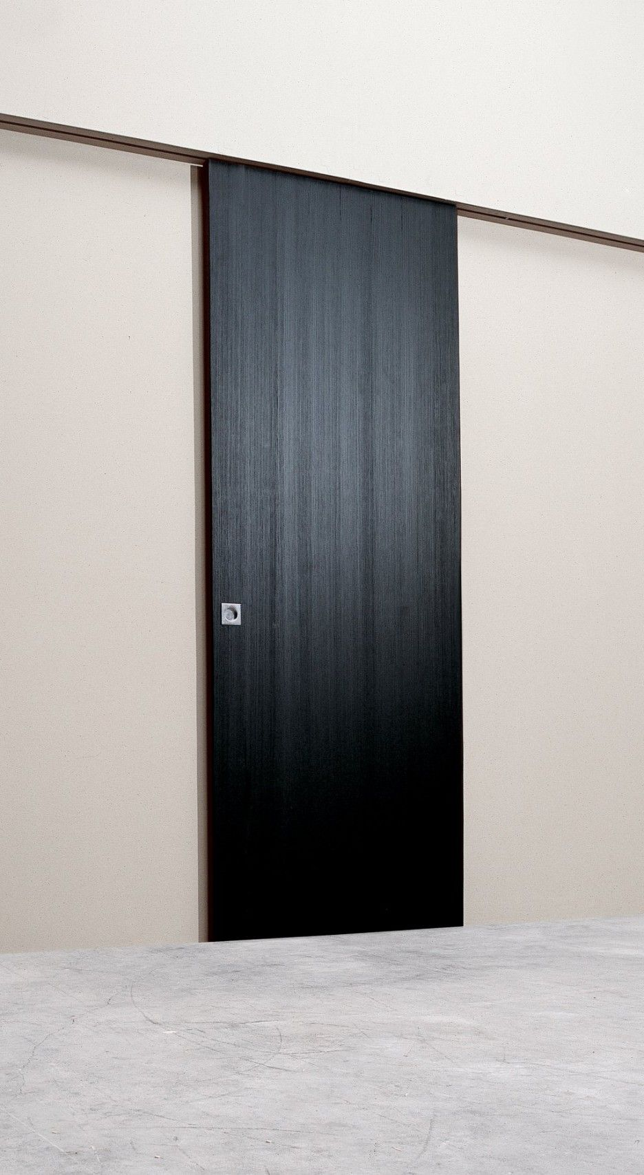 Wall Mounted Sliding Doors Give The Impression Of A Beautiful Minimalist Mount Door Hardware Design With Pure Black Wooden Painted Brown Iron