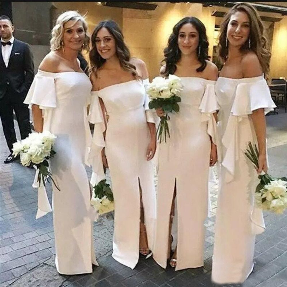 Long Off White Bridesmaid Dresses Boat Neck Off The Shoulder Straight Front Split Simple Wed White Bridesmaid Cheap Bridesmaid Dresses White Bridesmaid Dresses [ 998 x 998 Pixel ]