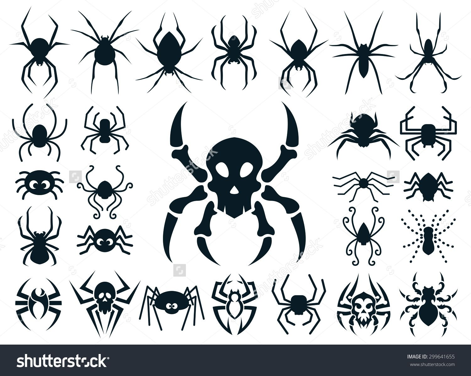 a set of spider shapes in different styles natural cute cartoon spider skull design and tribal tattoo style 299641655 - Different Styles Of Design