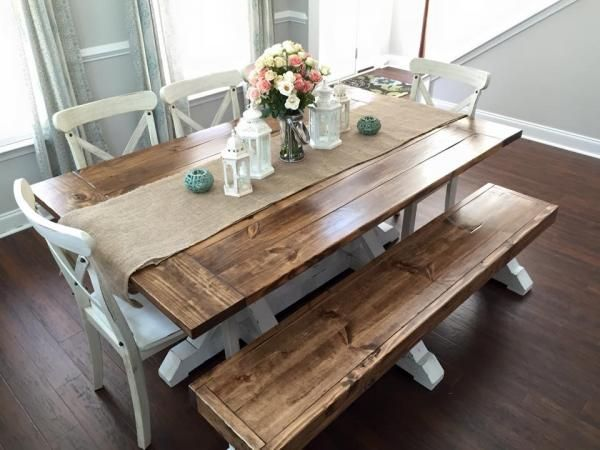 Download Wallpaper White Farmhouse Kitchen Table With Bench