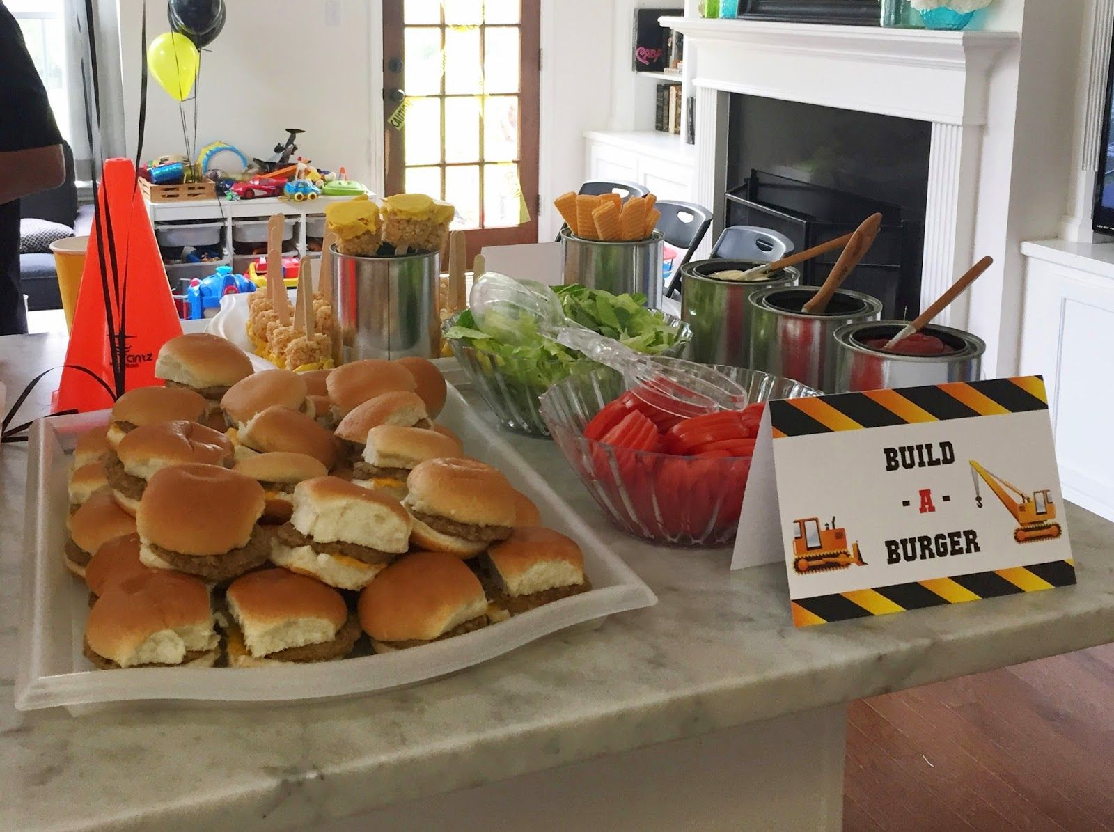 Build A Burger Food Station For Construction Themed Birthday Party See