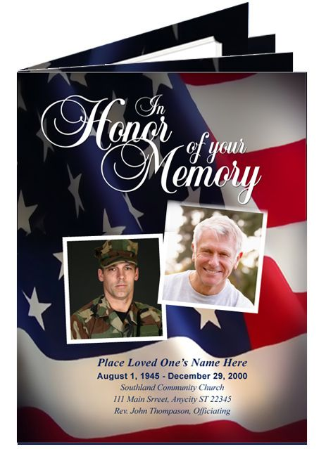 funeral booklets  military or patriotic us flag large