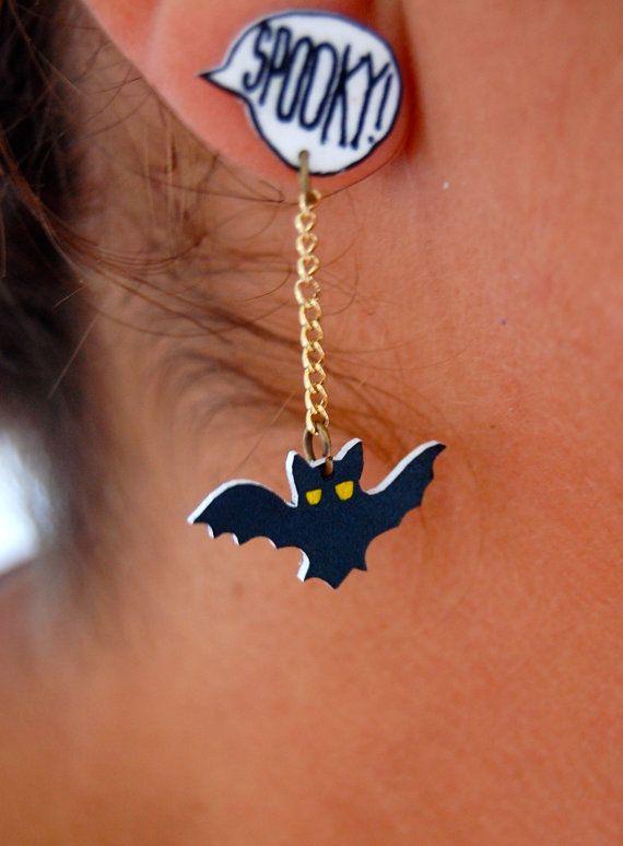 Halloween spooky bats earrings art shrink plastic by LindoRon, $8.00