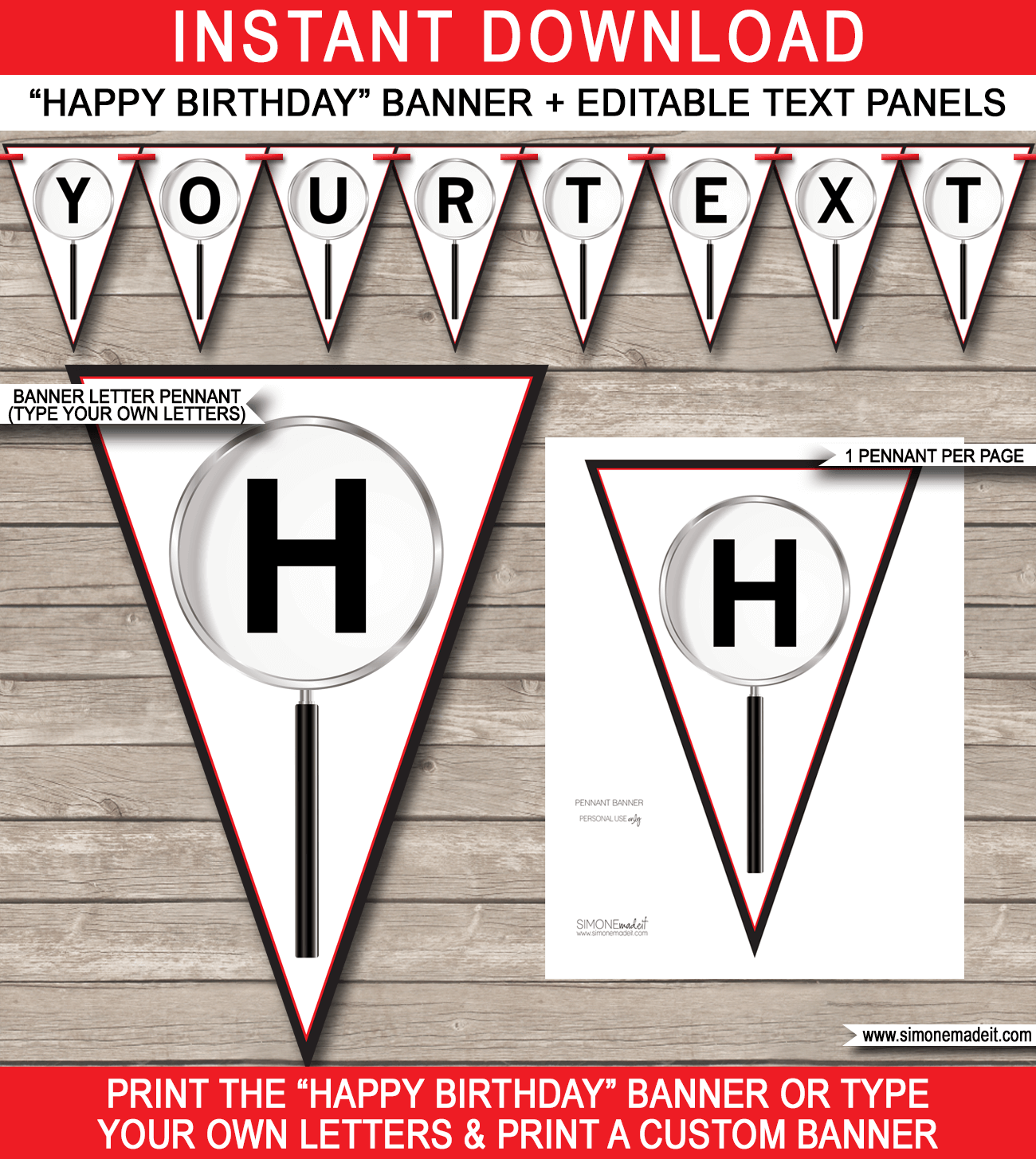 Spy Party Banner Template  Red  Spy Party Banner Template And