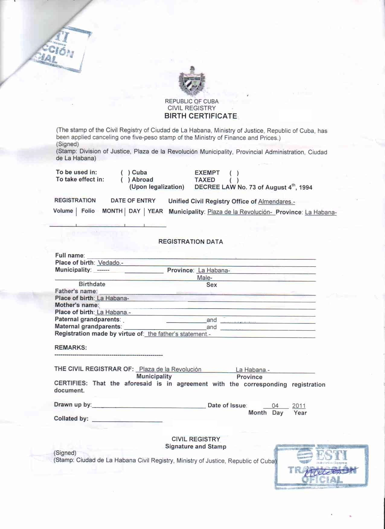 Marriage Certificate Translation Template Galleryhip The Birth