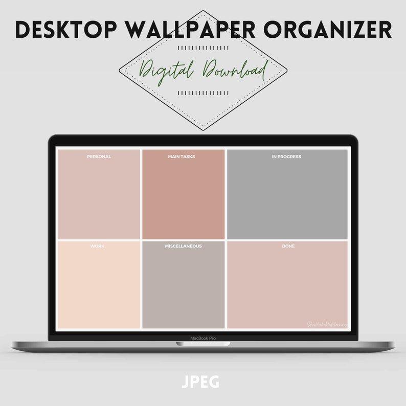 Productivity Desktop Organizer Wallpaper Organizer Digital Etsy In 2021 Desktop Wallpaper Organizer Desktop Organization Minimalist Desktop Wallpaper