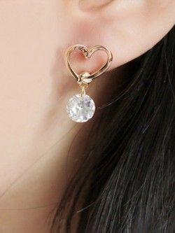 Entangled Heart Crystal Drop Earrings