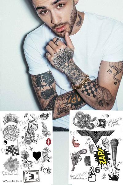 Zayn Malik Inspired Temporary Tattoos 2017 Complete Set 2 Full Pages With Real Size Tattoos Up To Date Perfect For Music Costume Party Zayn Malik Tattoos Zayn Malik Boyfriend Name Tattoos